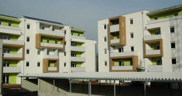 Für die EGW Heimstätte wurden insgesamt 46 Mietwohnungen errichtet. Die individuelle Form- und Farbgestaltung setzt neue Maßstäbe in der Wohnlandschaft.