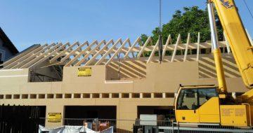 Ein weiterer gelungener Holzriegelbau wurde bei diesem Pfadfinderhaus in Gallneukirchen durchgeführt. Der Vorteil, es ist in kürzester Zeit bezugsfertig dank der Vorbereitungen in der Zimmerei.