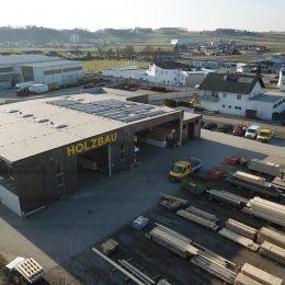 Drohnenaufnahme von oben - Betriebsliegenschaft in Mauthausen zu verkaufen - Hentschläger Bau GmbH